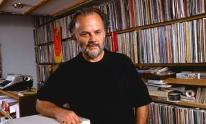John Peel with his record collection